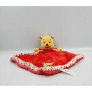 Doudou-Plat-Winnie-l-039-Ourson-rouge-pois-fleur-DISNEY-Ours-Plat-Semi-plat