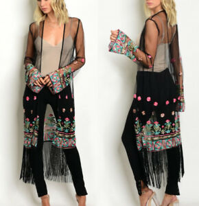 NWT Women's Black Floral Embroidered Sheer Long Maxi Duster ...