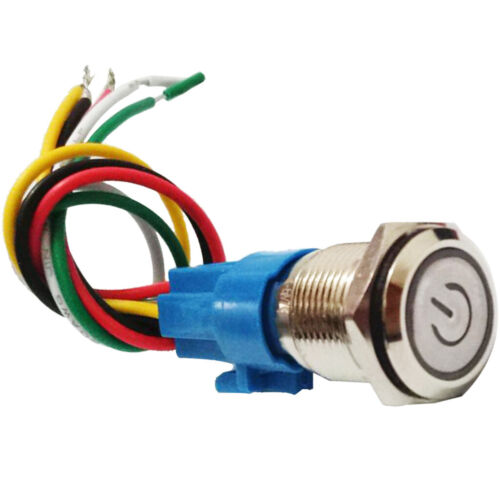 16mm Rastender Drucktastenschalter 12 24V DC Grüner LED Metallschalter Mit