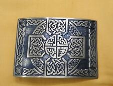 TE Celtic Interlace Cross Knot Work Belt Kilt Buckle Brushed Antique/Kilt Buckle