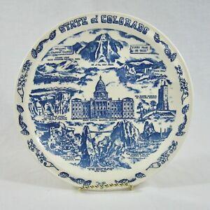 Vernon Kilns State Plate COLORADO Souvenir Collector Landmarks Sights Blue VTG