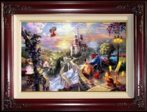 Thomas Kinkade Beauty and the Beast Falling in Love 12x18 P/P Disney Canvas