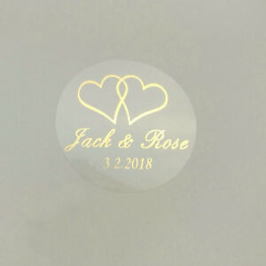 Image is loading 100-printing-labels-custom-transparent-Gold-White-Heart-