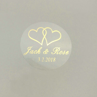 Personal Wedding labels clear circles round decals quality print x 100