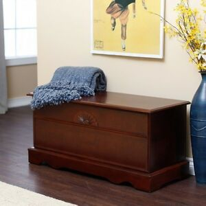 Marvelous Details About Cedar Hope Chest Home Cherry Finish Wood Bedroom Storage Blanket Bench Trunk New Dailytribune Chair Design For Home Dailytribuneorg