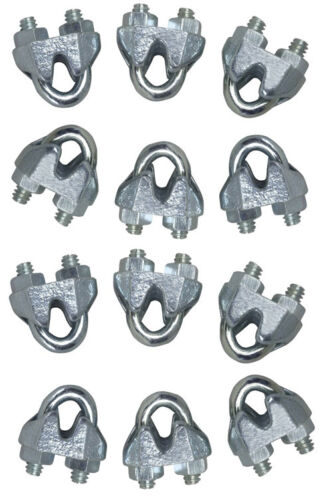 """Cable Clamps 12 High Quality 1//8/"""" Galvanized Wire Rope Clips Antenna Guying"""