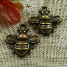 Free Ship 200 pieces Antique bronze bee charms 22x20mm #1021
