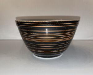 1960s Vintage Pyrex Terra Black Brown Stripe 1.5 Pint Mixing Bowl