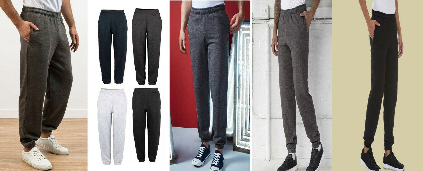 AWDis Mens College Cuffed Jog Pants Sports Running Jogging Bottom Sweatpants New