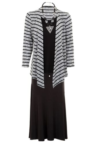 Ladies Long Sleeve Stripe Knitted Waterfall Cardi Top Lined Flare Skirt 2 Piece