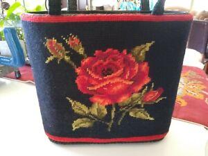 Julius-Resnick-Needlepoint-Floral-Purse-VINTAGE-1950-039-s-TOTE-handbag-KISSLOCK
