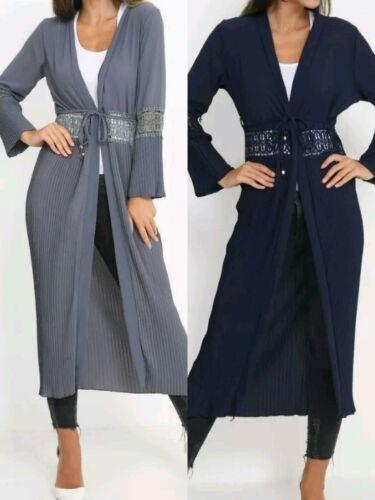Ladies NUOVO italiana a lungo in pizzo Kimono Aperto Sul Davanti Abaya Maxi Cintura a Pieghe Cardigan