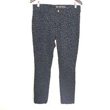 NWT Womens GAP 1969 Always Skinny Sateen Leopard Print Black Stretch Pants *F2