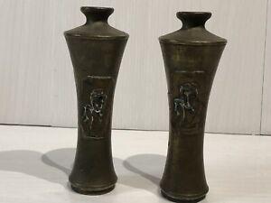 Antique Japanese Late Meiji Period Pair Of Bronze Ikebana Vases Flower Arranging