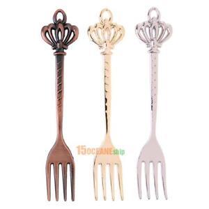 3pcs Vintage Royal Style Zinc Alloy Crown Head Fruit Fork Set #ORP