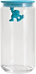 A di Alessi Gianni Glass Jar, Blue Lid, 140 cl, AMDR06 AZ