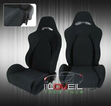 2x Fully Reclinable Racing Bucket Seats With Universal Slider Rails Black Cloth Fits Cts V
