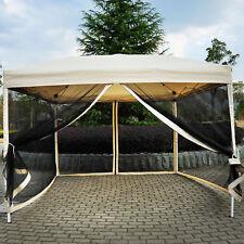 Outdoor Gazebo Canopy 10'x10' Pop Up Party Tent  Mesh Mosquito Net Patio Tan