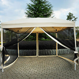 Image is loading Outdoor-Gazebo-Canopy-10-039-x-10-039- & Outdoor Gazebo Canopy 10u0027 x 10u0027 Pop Up Tent Mesh Screen Patio ...