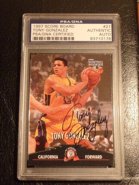 Tony Gonzalez SIGNED 1997 Score Board Basketball Rookies PSA/DNA AUTOGRAPH Chief