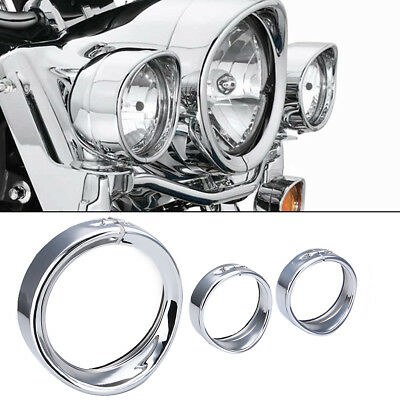 2pcs 4 1//2 Fog Light Auxiliary Trim Decorate Visor Compatible with Harley Electra Glide Street Glide Road King 7 Headlight Headlamp Ring