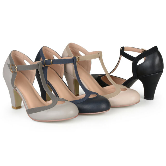 Two Tone Wide Width T-Strap Pump Shoes by PleaserUSA TEEZE-45W