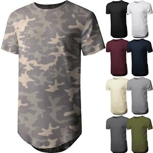 Mens-BASIC-HIPSTER-T-Shirts-Casual-Extended-Longline-Back-Hip-Hop-Hemline-Tee