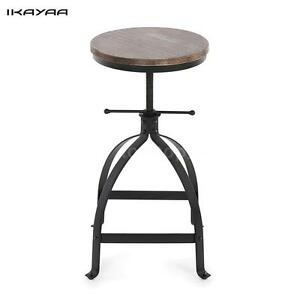 Genial Image Is Loading Vintage Wood Top Bar Stool Height Adjustable Swivel