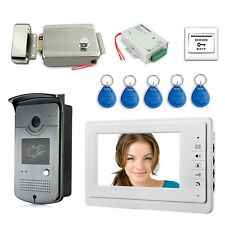 "7"" LCD Video Door Phone RFID Access Doorbell Kit Electric Lock + Power Supply"