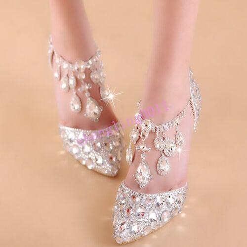 Spring New Womens Bling Wedding stilettos Heel Party Rhinestones prince Shoes