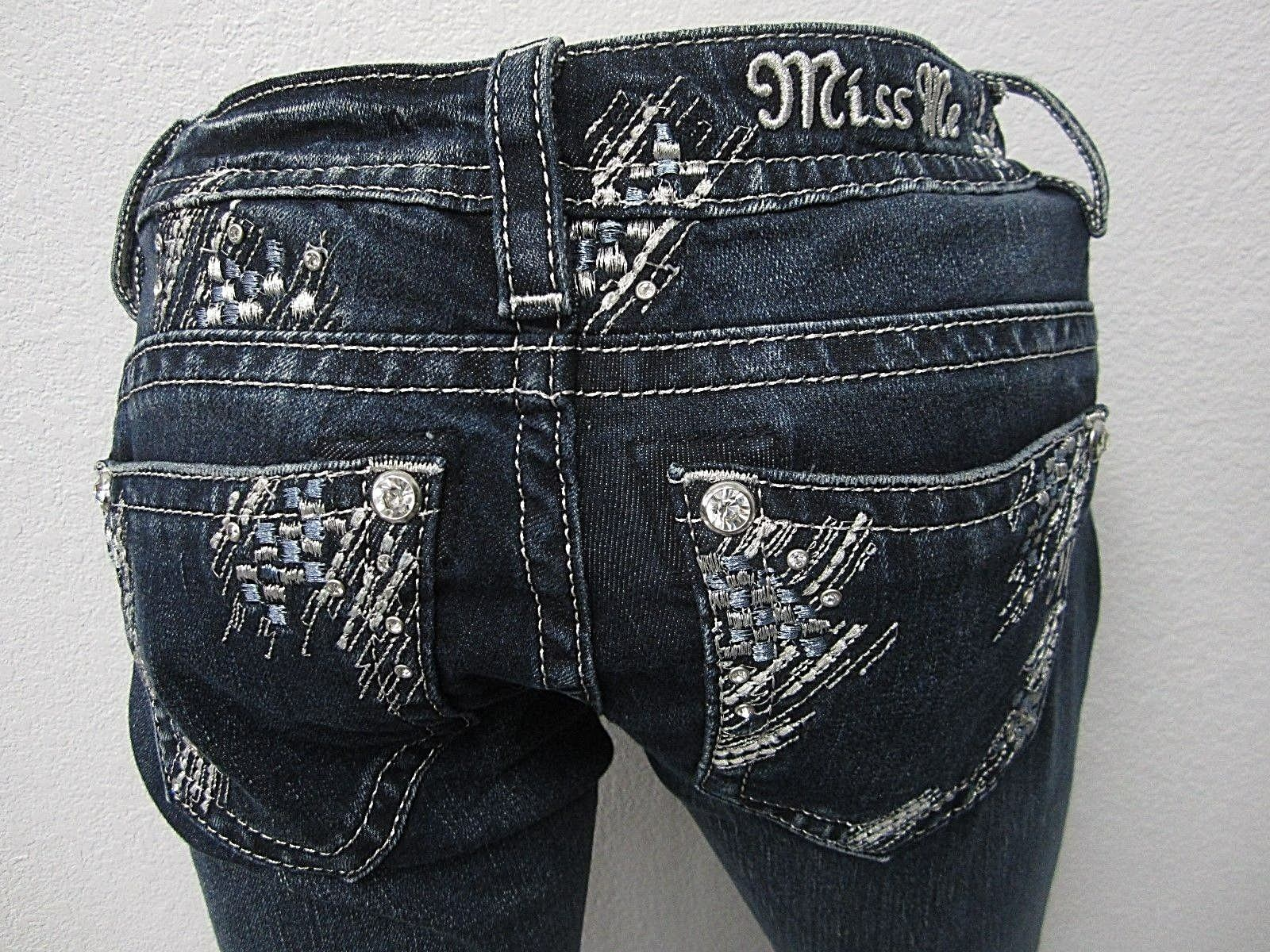 NWT Miss Me Relaxed Boot Jeans, XP7633BV - Dark bluee LOTS OF BLING Size 24 x 32