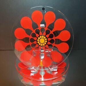 2-SAGAFORM-Lotta-Odelius-Red-Juicy-Flower-Swedish-Retro-Glass-Plates-New-w-Tags