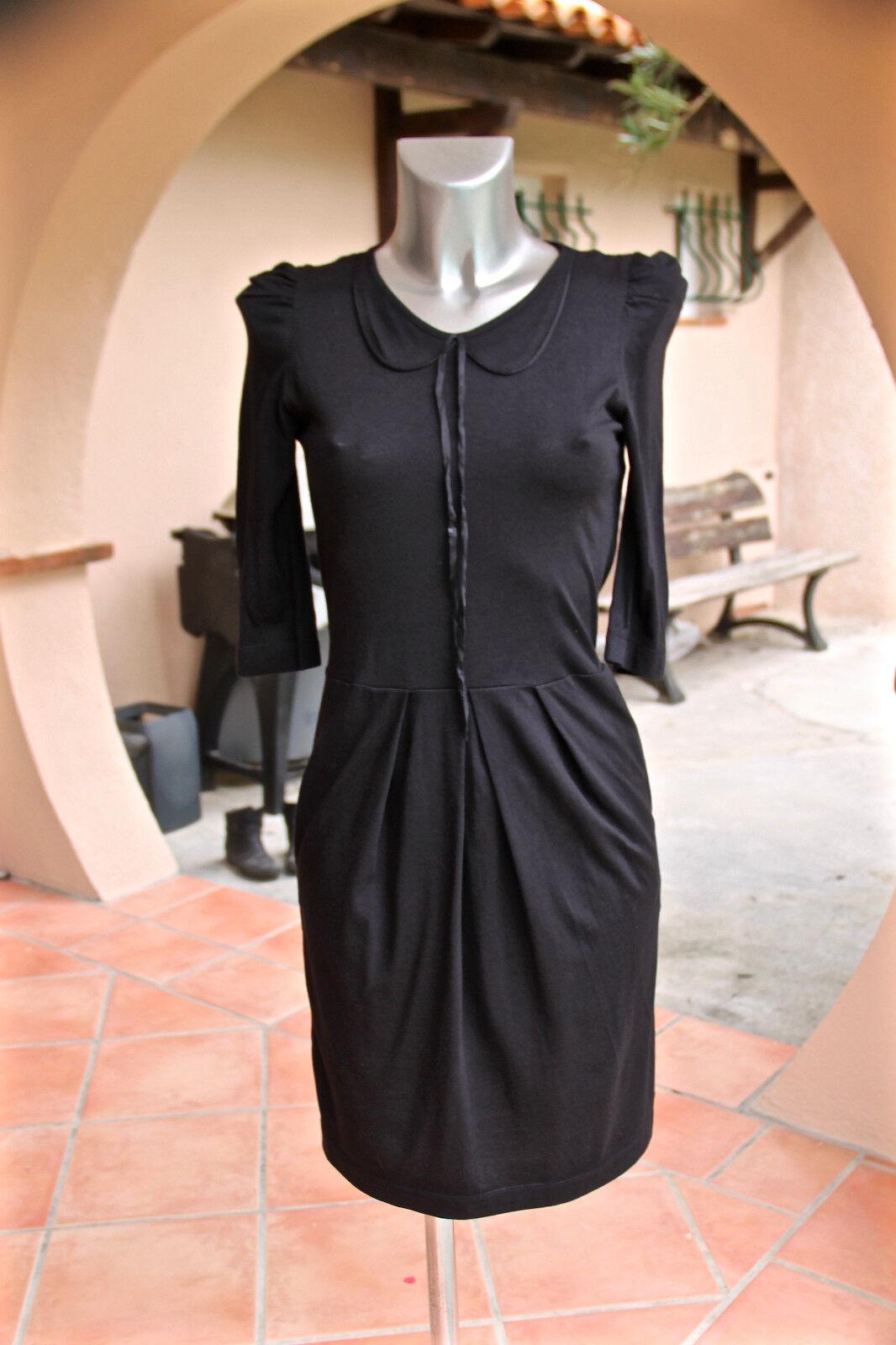 SANDRO luxueuse robe schwarze coton modal soie Größe 1 excellent état
