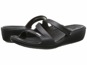 33c3ca603a144 Crocs Women s Patricia wedge Sandal black relaxed fit size Choose