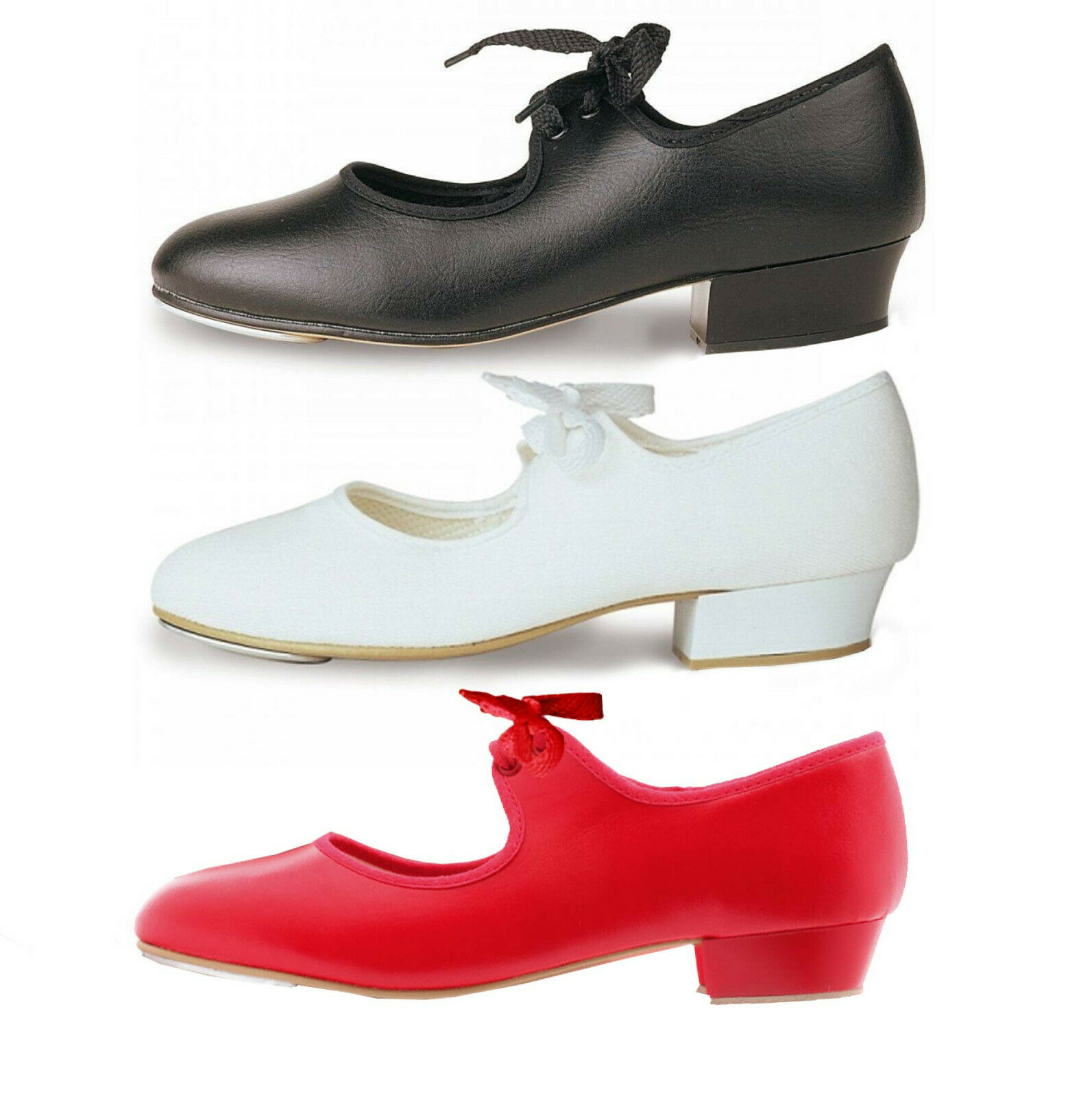 TAPPERS & POINTERS LOW HEEL TAP SHOES GIRLS WHITE BLACK RED PU CANVAS DANCE 5C-8