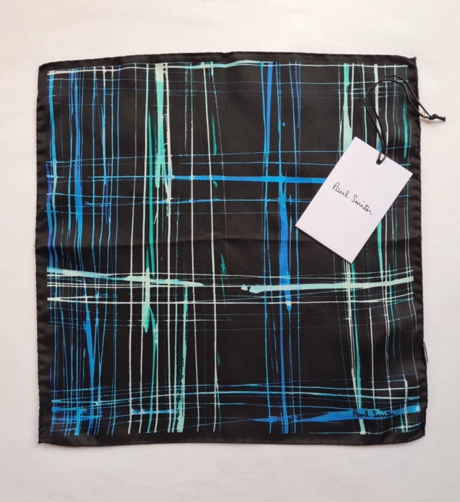 "Paul Smith Pocket Square ""Scribble Check"" Print 100% Silk"