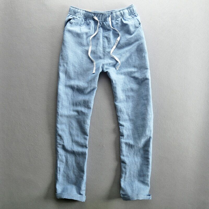 Mens Loose Straight Pants Breathable Cotton Linen Trousers Flax Casual Large Y1
