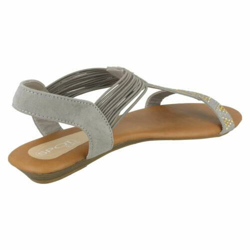 Ladies Black Taupe Sling Back Open Toe Spot On Sandals F1R0589