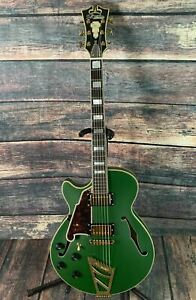 D'Angelico Left Handed Deluxe SS Semi-Hollow Electric Guitar-Matte Emerald Green