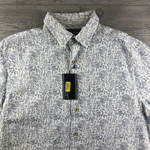 ROUNDTREE-amp-YORKE-SHORT-SLEEVES-SHIRT-SIze-Large-Button-Down-White-FLower-Pat