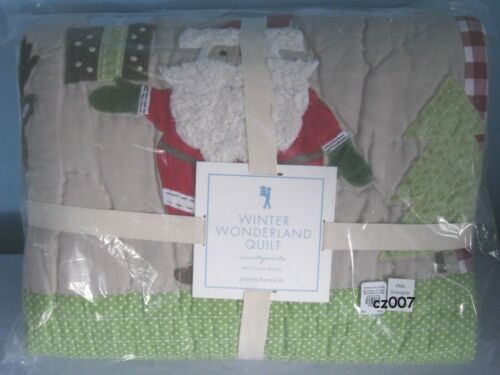 NEW Pottery Barn Kids Winter Wonderland  Santa Twin Quilt ~  Last One ~  RARE!