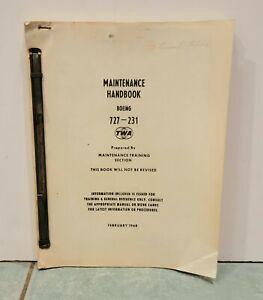 TWA Memorabilia Boeing 727-231 Maintenance Handbook Manual February 1968
