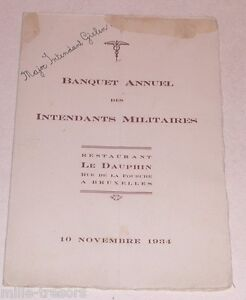 Menu-Banquet-Annuel-Intendants-Militaires-Novembre-1934-Major-Intendant-GIELEN