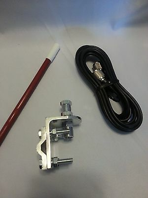 NEW ARIES 500 WATT 4FT WHITE CB RADIO ANTENNA KIT,COAX BRACKET /& STUD