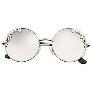 Womens-Flower-Floral-Boho-Round-Mirror-Sunglasses