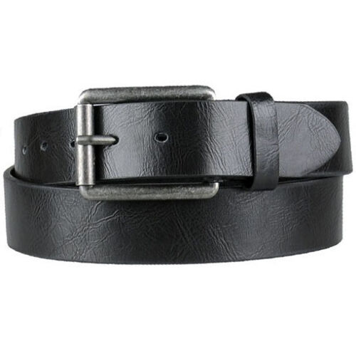Damen Herren Gürtel mit Leder Rückseite schwarz 3,8 cm breit Jeansgürtel kürzbar