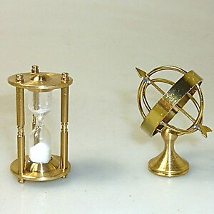 Eieruhr-und-Globus-funktionsfaehige-Miniatur-Setzkasten-massiv-Messing-ca-4cm