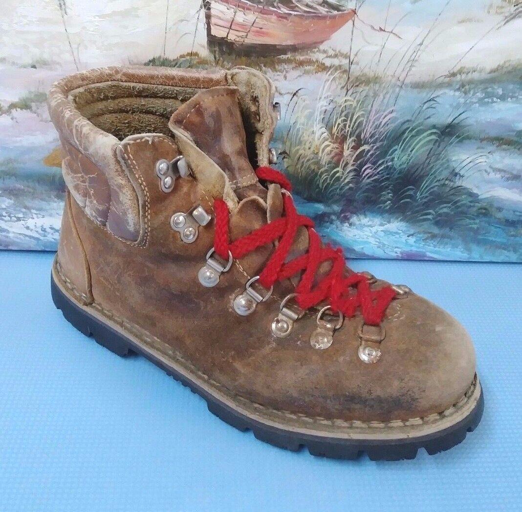 Mens Vintage Farbeado Hiking Stiefel Sz 9.5 braun Style 8826