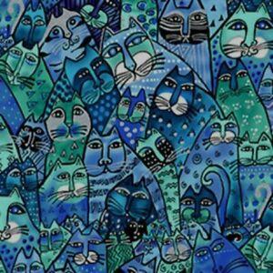 Laurel-Burch-Feline-Frolic-Packed-Cats-Royal-Blue-w-Metallic-Y2798-31M-BTY