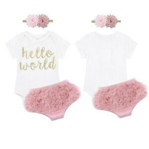 Newborn-Baby-Girls-Hello-World-Romper-Bloomers-Headband-Infant-Outfit-Clothes